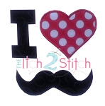 I Heart Mustache Applique
