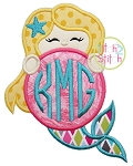 Mermaid Monogram Peeker Applique