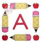 Pencil School Apple Frame Applique