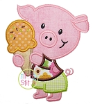 Pig Ice Cream Applique