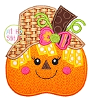Pumpkin Scarecrow Girl Applique