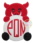 Hog Mascot Monogram Peeker Applique