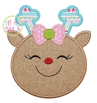 Reindeer Face Girl 3 Applique