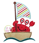 Sailing Crab Boat Applique