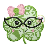 Shamrock Glasses Girl Applique