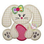Sitting Bunny Egg Girl Applique