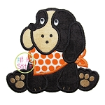 Sitting Hound Dog Mascot Applique
