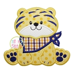 Sitting Tiger Mascot Applique