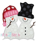 Snowman Couple Applique