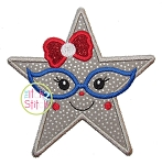 Star Glasses Girl Applique