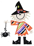 Stick Figure Witch Scarecrow Applique