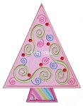 Swirly Christmas Tree Applique