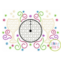 2020 Champagne Clock Motif Embroidery