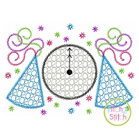 2020 Clock Party Hats Motif Embroidery