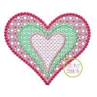 3 Layer Heart Motif Embroidery