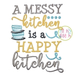 A Messy Kitchen is a Happy Kitchen Embroidery
