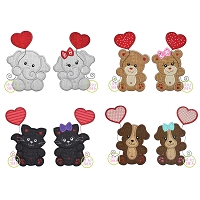 Animals with Heart Balloon Applique Design Set