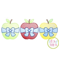 Apple Big Bow Trio Sketch Embroidery