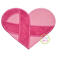 Awareness Ribbon Heart 2 Fabric Applique