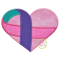 Awareness Ribbon Heart 4 Fabric Applique