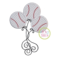 Baseball Balloons Applique Design