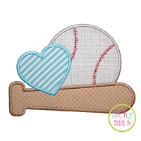 Baseball Bat Heart Applique Design