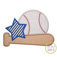 Baseball Bat Star Applique Design