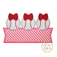 Baseball Bow Trio Banner Applique Design