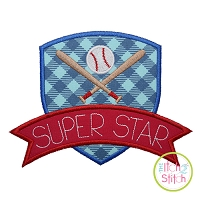 Baseball Superstar Applique Design