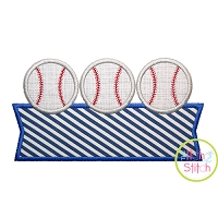 Baseball Trio Banner Applique Design