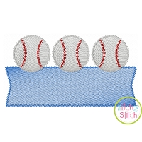 Baseball Trio Banner Sketch Embroidery Design
