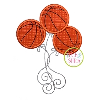 Basketball Balloons Applique Design