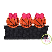 Basketball Bow Trio Banner Applique Design