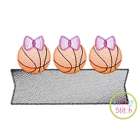 Basketball Bow Trio Banner Sketch Embroidery Design