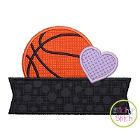 Basketball Heart Banner Applique Design