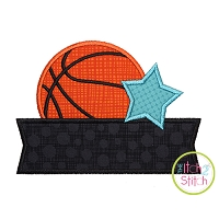 Basketball Star Banner Applique Design