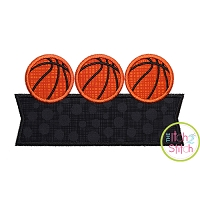 Basketball Trio Banner Applique Design