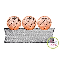 Basketball Trio Banner Sketch Embroidery Design