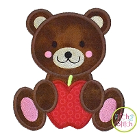 Bear Apple Boy Applique