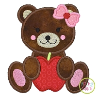 Bear Apple Girl Applique