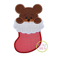 Bear in Stocking Boy Applique