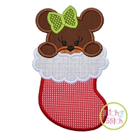 Bear in Stocking Girl Applique