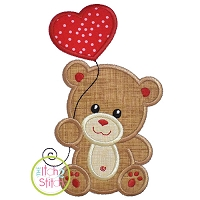 Bear with Heart Balloon Boy Applique Design