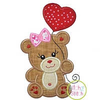 Bear with Heart Balloon Girl Applique Design