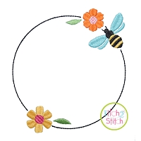 Bee Bloom Frame Embroidery Design