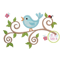 Bird on a Branch Applique Design