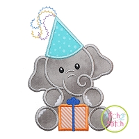 Birthday Elephant Boy Applique Design
