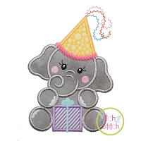 Birthday Elephant Girl Applique Design