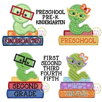 Bookworm School Grades Applique Design Set