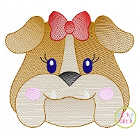 Bulldog Face Girl Sketch Embroidery